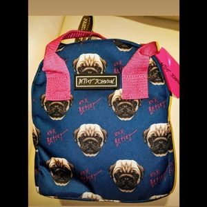 Betsey Johnson PUG Blue Insulated Lunch Bag Tote